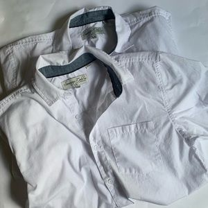 Boys Lot of 2 Uniform Shirts Button Down Large
